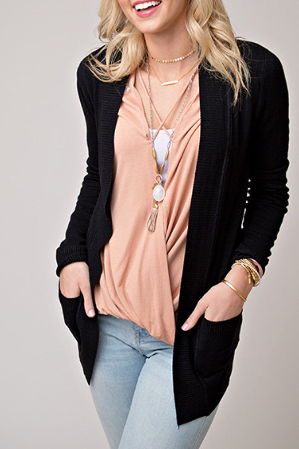 OPEN FRONT CARDIGAN WITH POCKETS | BLACK