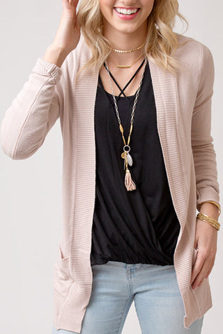 OPEN FRONT CARDIGAN WITH POCKETS | BLUSH