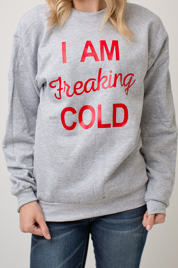 FREAKING COLD SWEATER | GREY / RED