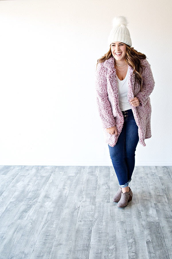 COZY SHERPA JACKET | BERRY