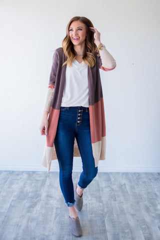COLOR BLOCK DUSTER CARDIGAN.