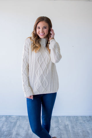 COZY THOUGHTS MOCK NECK SWEATER | IVORY