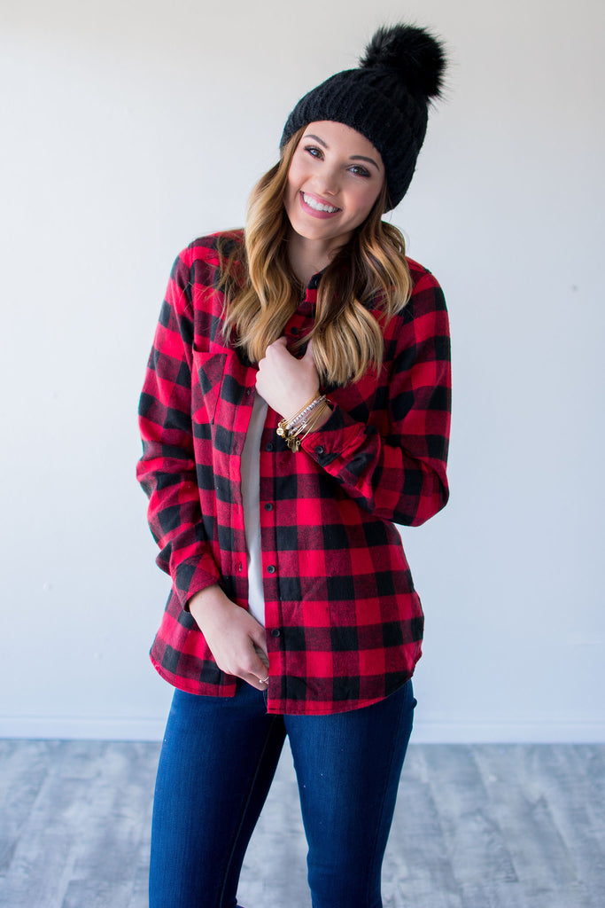 SHERPA LINED BUFFALO PLAID BUTTON UP