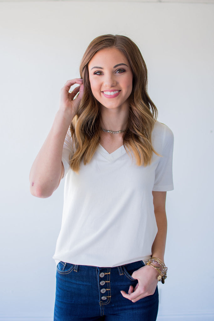 SIMPLY PERFECT BASIC V NECK TEE | IVORY