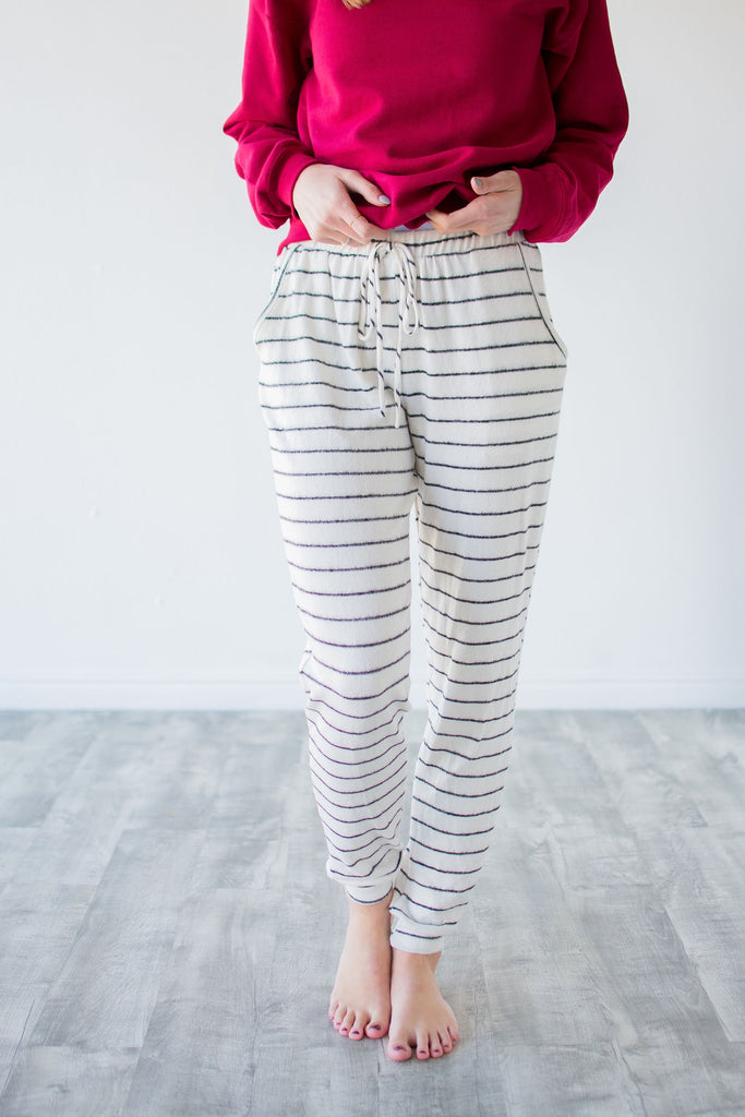 STRIPED LOUNGE WEAR JOGGERS | IVORY