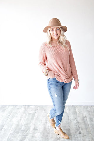 BRAYLEE KNOT SWEATER | BLUSH