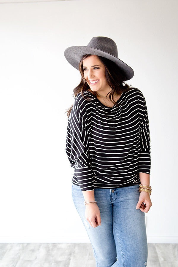 ADDISSON STRIPE DOLMAN TUNIC  | BLACK