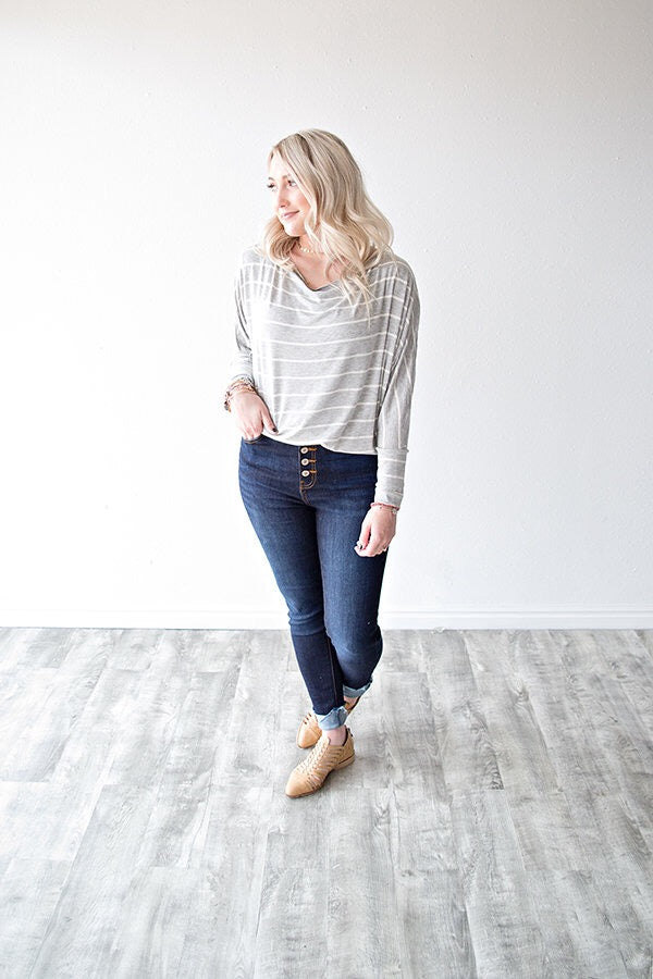 ADDISSON STRIPE DOLMAN TUNIC  | GREY