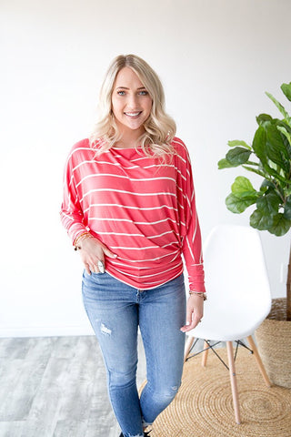 ADDISSON STRIPE DOLMAN TUNIC  | CORAL