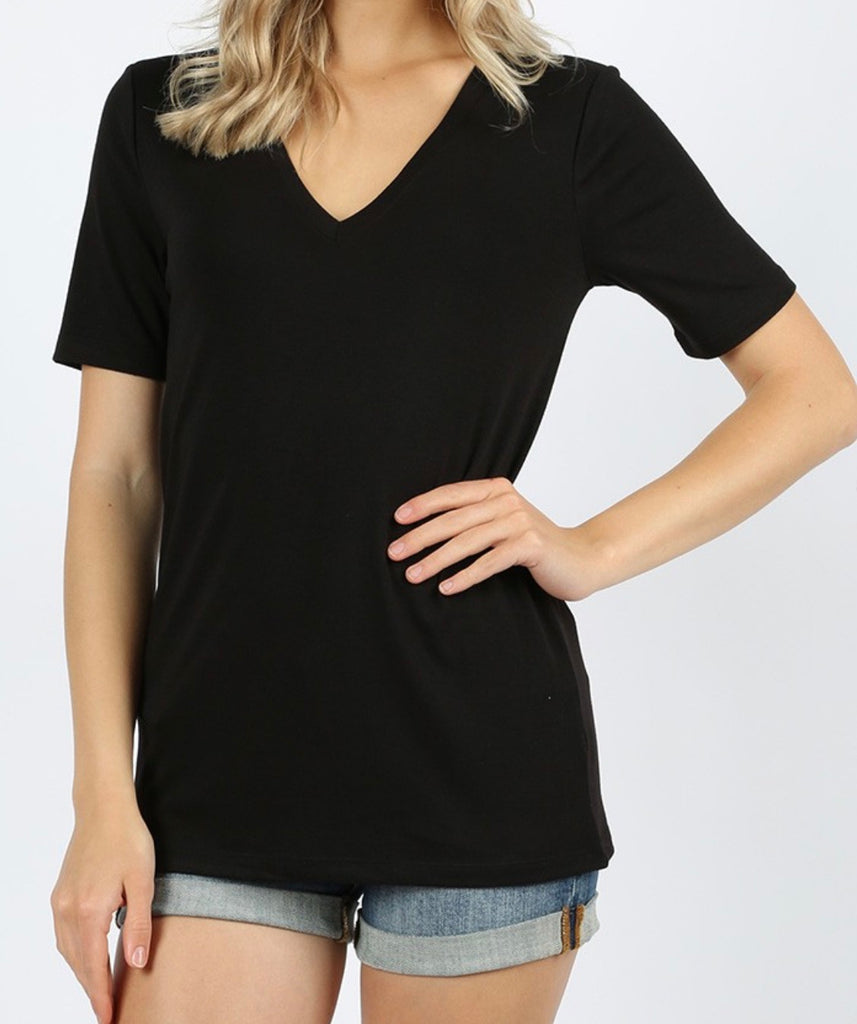 SIMPLY PERFECT BASIC V NECK TEE | BLACK