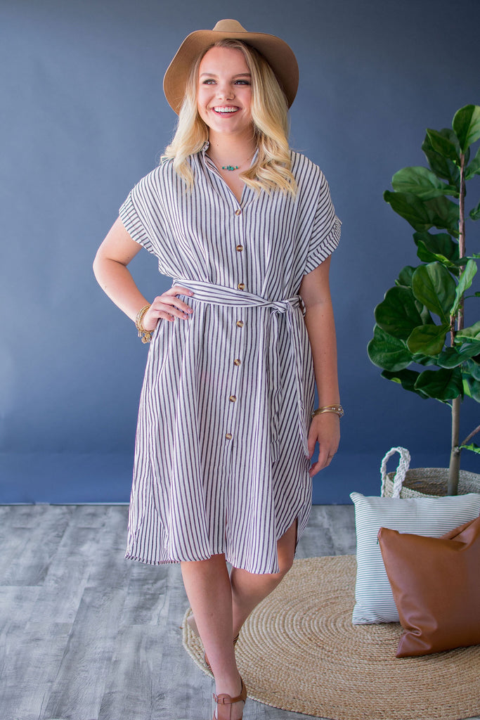 FALLYN STRIPED BUTTON FRONT DRESS |