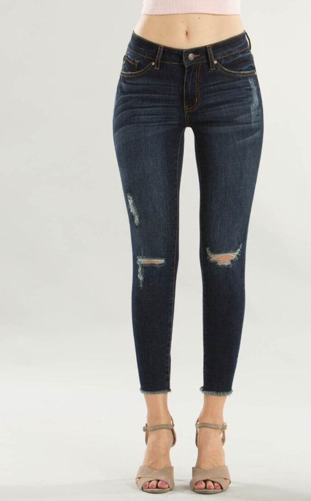 GRETA SLIT KNEE DENIM | DARK WASH