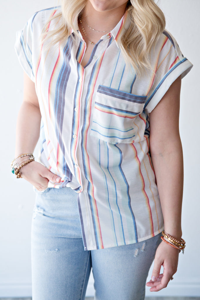 SCOTTIE STRIPED BUTTON UP BLOUSE | RAINBOW