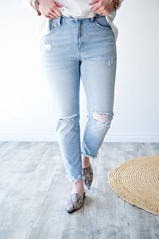 HOLLAND BOYFRIEND CROP DENIM | LIGHT WASH