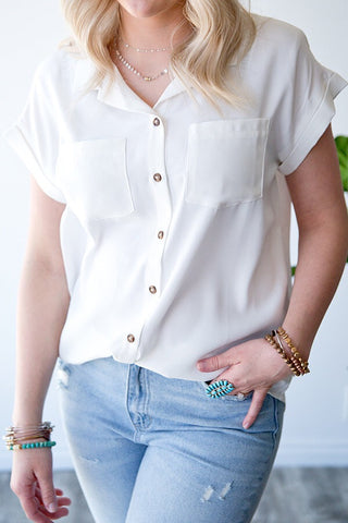 DIXIE BUTTON FRONT TOP  | IVORY