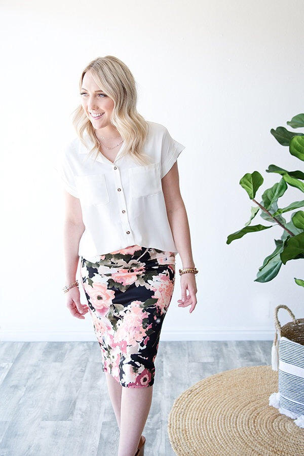 AURORA FLORAL PENCIL SKIRT | BLACK