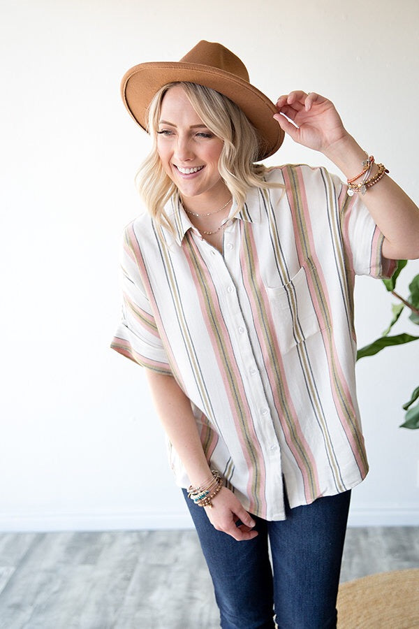 SHEILA BUTTON UP TOP | BLUSH & OLIVE