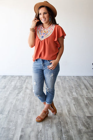 SELENA EMBROIDERED TOP | RUST