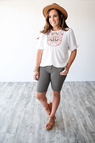 EMOGEN EMBROIDERED TOP | IVORY