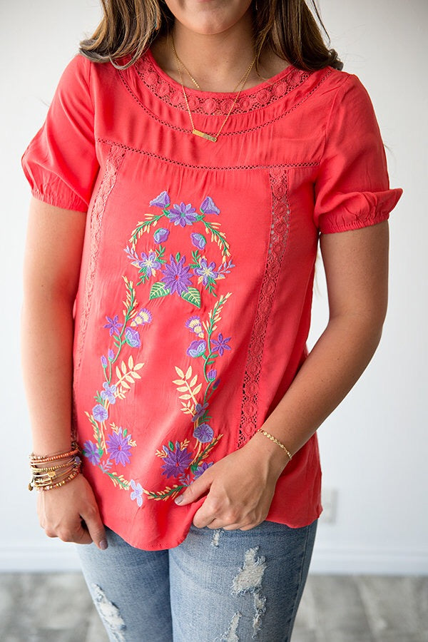 JO JO EMBROIDERED TOP | CORAL