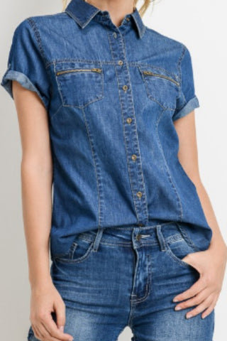 ZAYA CHAMBRAY ZIPPER POCKET TOP | DARK WASH