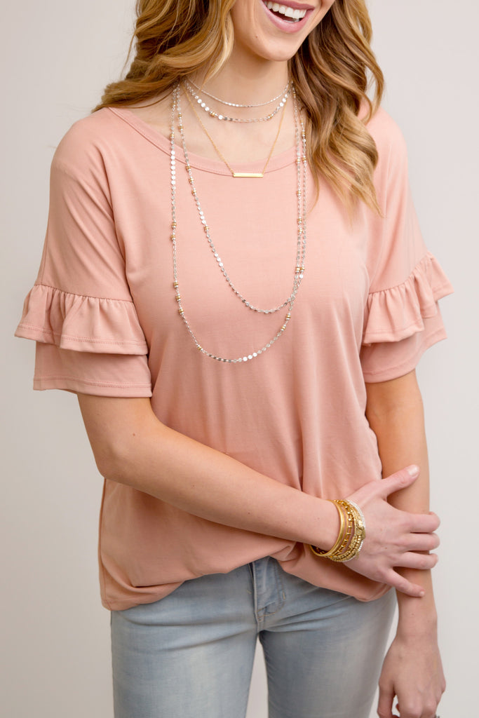 RUFFLE SLEEVE DETAIL TOP | BLUSH