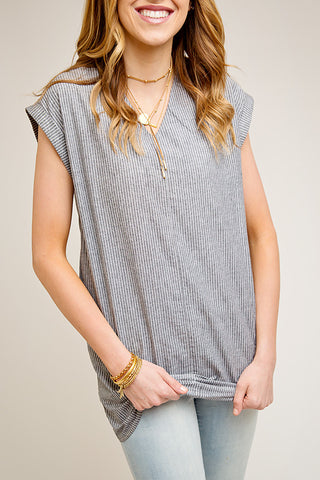 HAWTHORNE GREY STRIPE V NECK TUNIC