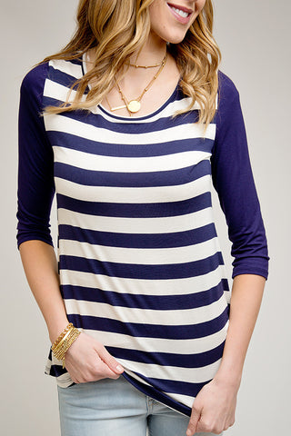 TIE BACK NAUTICAL STRIPES TOP | NAVY