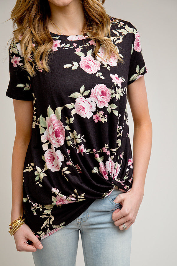 BLACK AND FUSCHIA FLORAL KNOT TOP