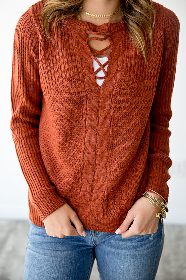 TIA CRISS CROSS DETAIL KNIT SWEATER | RUST