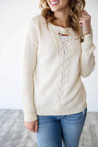 TIA CRISS CROSS DETAIL KNIT SWEATER | IVORY