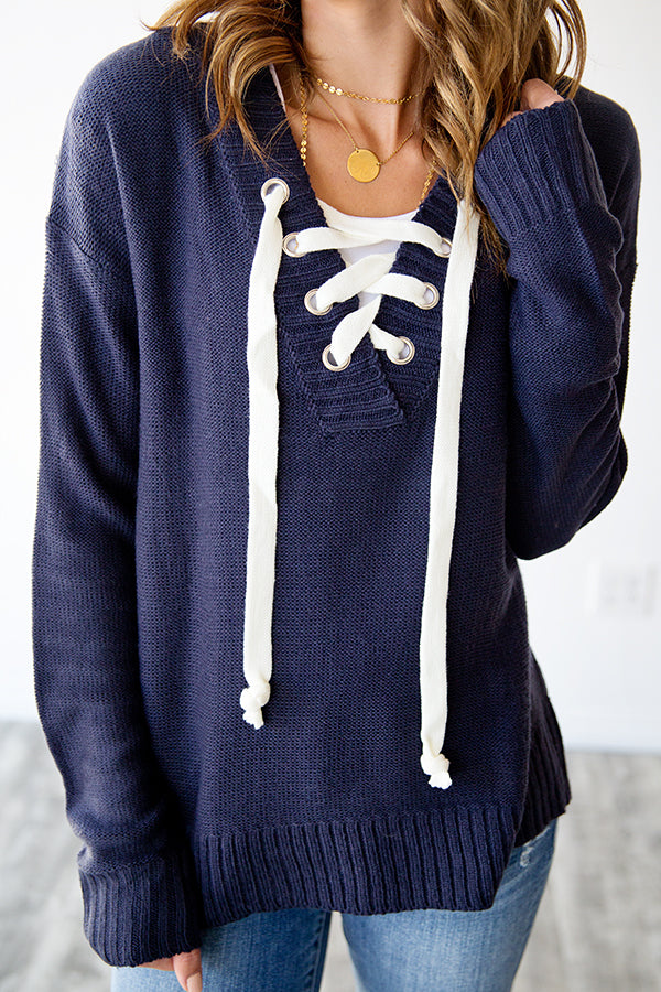 PIPPA LACE UP KNIT SWEATER | NAVY