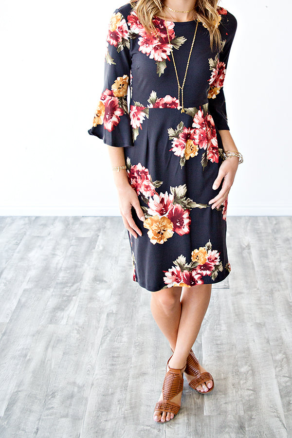 AMAYA 3/4 SLEEVE FLORAL DRESS