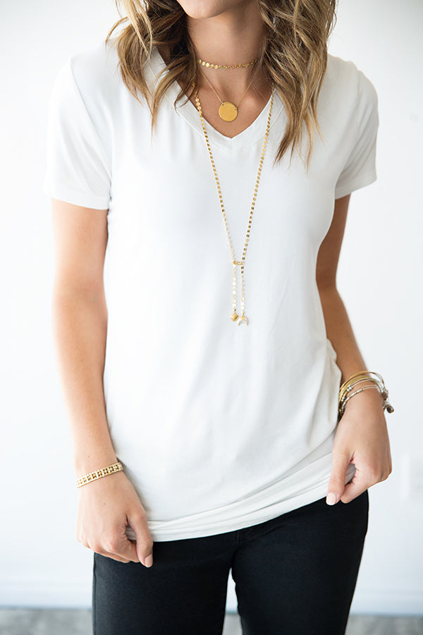 TANYA'S FAVORITE V NECK BASIC TEE | IVORY