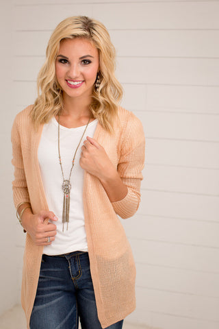 DUSTY PINK KNIT CARDIGAN WITH POCKETS