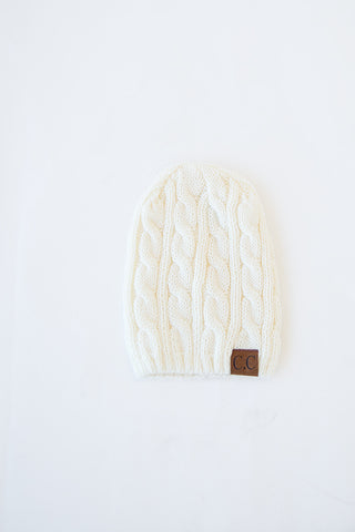CABLE KNIT BEANIE | IVORY