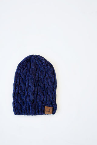 CABLE KNIT BEANIE | NAVY