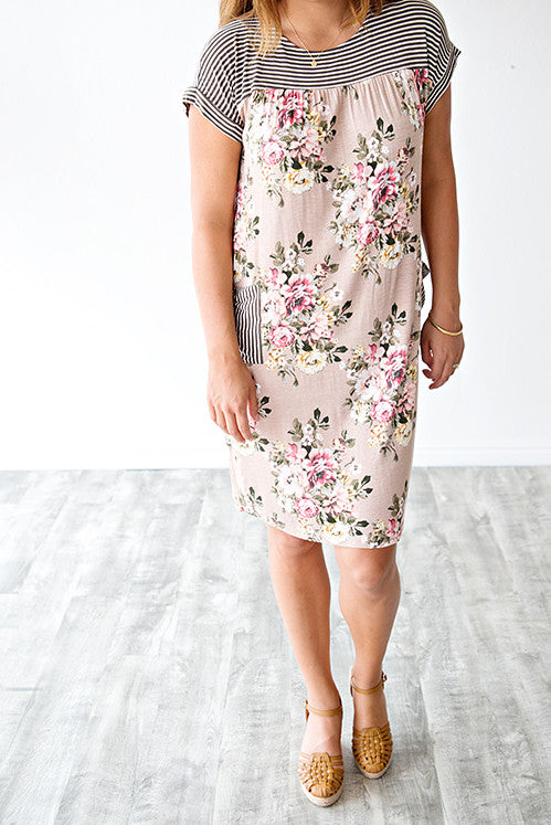 MADDUX FLORAL AND STRIPE POCKET DRESS