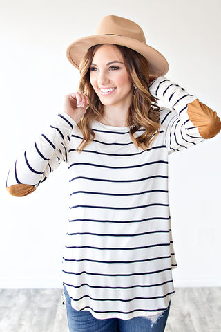 EMBER STRIPED RAGLAN ELBOW PATCH TOP