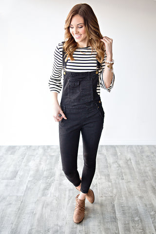 SKINNY FIT OVERALLS | BLACK