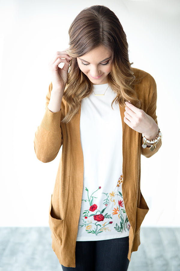 OPEN FRONT CARDIGAN WITH POCKETS | CAMEL