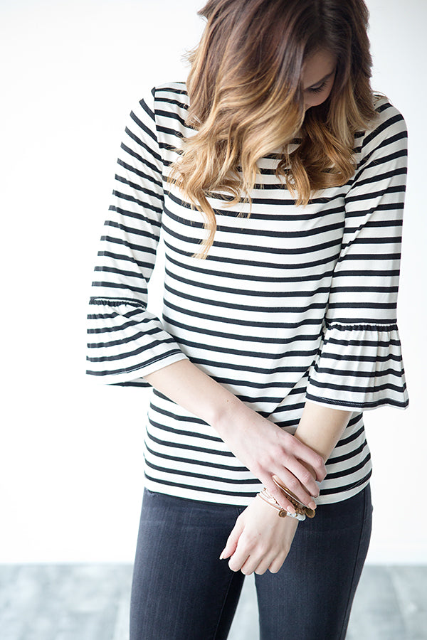 BRITTYN STRIPE RUFFLE SLEEVE TOP