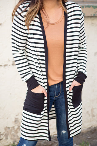 STRIPED DUSTER CARDIGAN WITH POCKETS