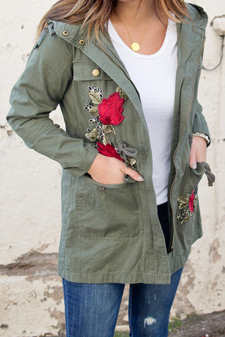 OLIVE FLORAL PATCH UTILITY JACKET