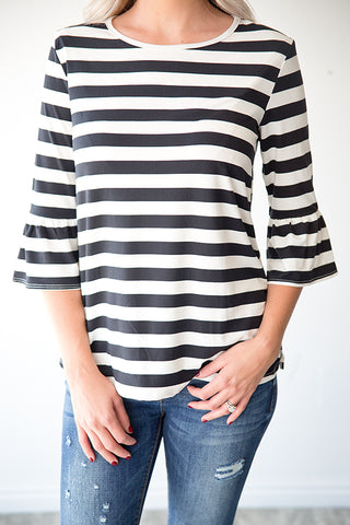 HANNAH STRIPE RUFFLE SLEEVE TOP