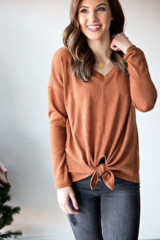 CHARLEE KNOT TOP | RUST