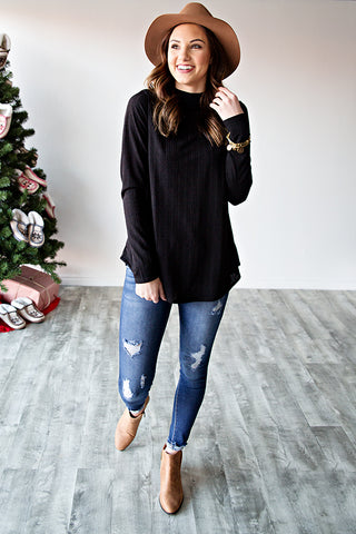 JOSI MOCK NECK TUNIC | BLACK