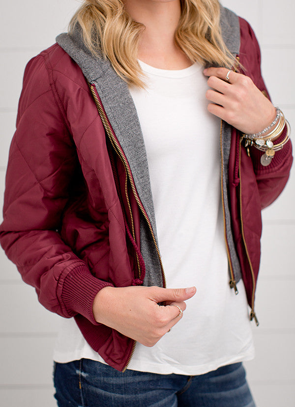 QUILTED BOMBER JACKET WITH FRENCH TERRY HOOD | BURGUNDY