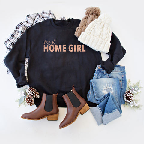 STAY AT HOME GIRL PULLOVER | BLACK WITH ROSE GOLD
