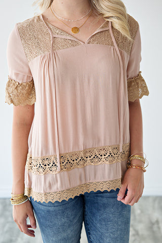 INDIE LACE BOHO TOP | TAUPE BLUSH